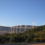 Millau Viaduct holds worlds record for highest pylons, 343 m above the valley.