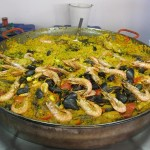 Paella made on site at the market. This pan was at least 36 inches if not larger.