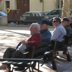 People gather in the city centers. The French know how to relax!